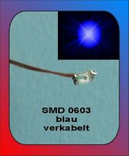 10 x SMD LED Bauart 0603   blau blue verkabelt Litze Kabel Kupferlackdraht