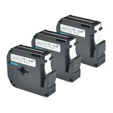 3 pack for Brother P-touch PT80 PT70 Black on White Label Tape M-K231 MK231