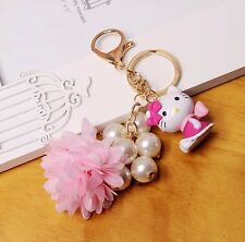 new pearl Hello Kitty pop girl keychain Key Ring bag Pendant Best gift
