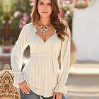 Women Plus Size Cold Shoulder Long Sleeve Lace Up V-neck Casual Top Shirt Blouse