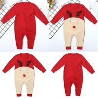 Baby Girl Boys Romper Christmas Elk Cartoon Clothes Long Sleeve Toddler Jumpsuit