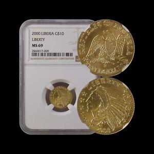 LIBERIA 10 Dollars, 2000, GOLD - NGC MS69, Indian Head Design RARE