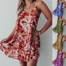Women Floral A Line Mini Dress Sleeveless Casual V Neck Tank Beach Sundress