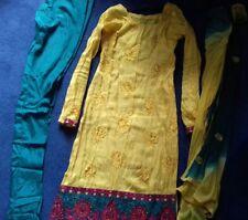 Bollywood Designer Indian Salwar Kameez Suit jaune Banarasi Taille 8-10