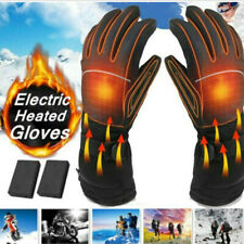 Black Motorcycle Fabric Heated Gloves Winter Warm Electric Waterproof Pair