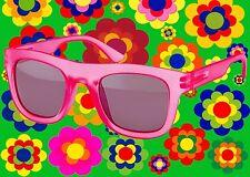 A342✪ Hippie Wayfarer Sonnenbrille 60er 70er Jahre Schlager Hornbrille pink