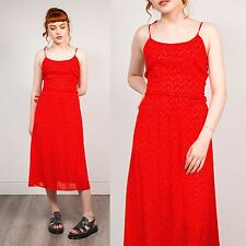 WOMENS VINTAGE 80'S RED FLORAL PATTERN STRAPPY CAMI MIDI LENGTH SUMMER DRESS 8