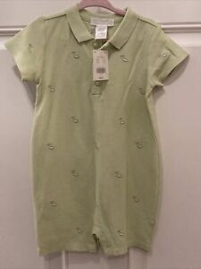 Janie and Jack Baby Unisex 12-18 Green Pea  Short Polo Romper NWT Vintage 2012