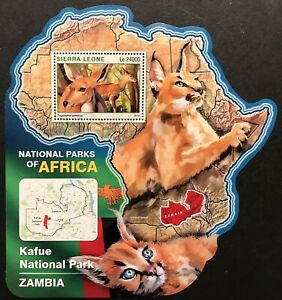 SIERRA LEONE WILD ANIMALS MAP SHAPED STAMPS '16 MNH NAT PARKS AFRICA ANTELOPE
