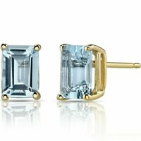 1.25Ct Aquamarine Emerald Cut 14K Yellow Gold Over Women's Stud Earrings