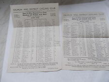 Crumlin & District Cycling Club Open 25 Mile etc. Start & Result Cards 16/9/1946