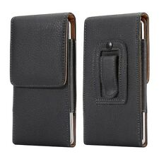 E1 BLACK LEATHER BELT CLIP CASE POUCH COVER HOLSTER FOR HTC SAMSUNG IPHONE SONY