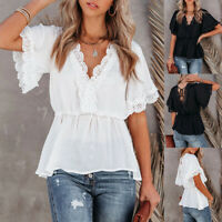Summer Women Lace Short Sleeve V Neck Blouse Ruffle Casual T Shirt Loose Top Tee