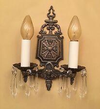Vintage Lighting luscious pair 1920s crystal sconces