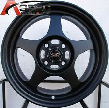15X7 +40 SLIPSTREAM 4X100 BLACK WHEELS Fits Vw Rabbit Neon ECHO JETTA GOLD MK3