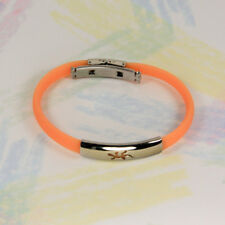 New  WRISTBAND - ORANGE RUBBER WITH POLISHED STAINLESS STEEL LIZARD EMBLEM K065
