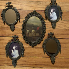 5 Assorted Vtg Wall Metal Picture Frames Made In Italy Mcm One Concave Glass