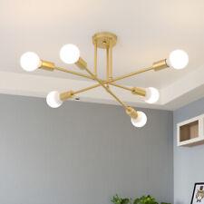 Modern 6 Lights Golden Sputnik Chandelier Semi Flush Mount Ceiling Light Fixture