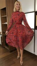 BNWT Whistles Red Multi Jungle Cat Pleated Midi Calf Dress Size UK 8 ASO