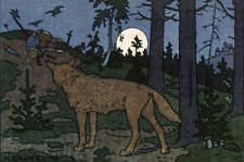 Ivan Bilibin Wolf in Woods Dark with Full Moon