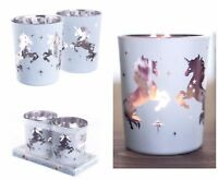 Set of 4 Glass Tea Light Candle Holder Unicorn Design Votive Holders Home Decor