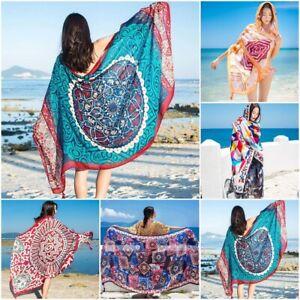 Ethnic Print Design Tassel Large Female Shawl Silk Sunscreen Women Beach Scarves