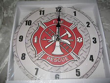 Fire Rescue Wall Clock EMS Hydrant Hook Ladder Ax Helmet Time Numbers NEW!