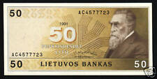 LITHUANIA 50 LITU P49 1991 EURO CATHEDRAL HORSE UNC MONEY BILL BANK NOTE