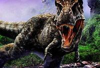 Framed Print - T-Rex Battling in the Rainforest (Picture Poster Dinosaur Art)
