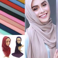 Women Chiffon Bubble Scarf Hijab Shawl Wrap Soft Scarves Headband Muslim Hijabs