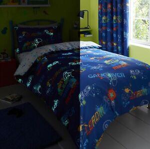Children Game Gaming Gamer Duvet Cover Kids Boys Single Quilt Bedding Set Blue