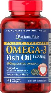 Puritan's Pride Double Strength Omega-3 Fish Oil 1200mg/600mg 90Softgels DHA EPA