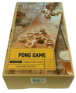 Refinery and Co Foldable Wooden Tabletop Beer Pong Game w 25 Cups