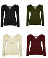 Womens Ladies Tie Lace Up V Neck Ribbed Stretch Knitted Long Sleeve Jumper Top