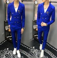 Mens Double breasted Blazers Suit Lapel Coat Slim Fit Jacket Casual Pants 2 Pcs