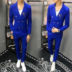 2Pcs Men Formal Double Breasted Blazer Lapel Coat Slim Fit Jacket Pants Suits UK