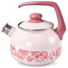 Kettle Whistle Enamel Lid Enamelware Made Serbia High Quality Pink Sakura Art
