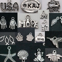 DIY Tibetan Silver Charm Pendants Jewelry Making Handmade Crafts Spacer beads