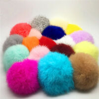 Good Rabbit Fur Bag Key Chain Fluffy Puff Ball Key Ring With Cute Cat Pendant