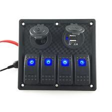 12V/24V Switch Panel Breaker 4 Gang Blue LED Car Marine Boat Rocker Waterproof