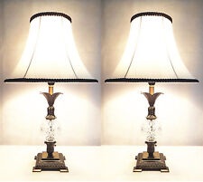 Pair of Traditional Antique Style Table Bedside Lamps White Shade with Black Rim