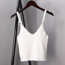 Women Knit Spaghetti Strap V Neck Vest Cami Tank Bardot Crop Tops Shirt Blouse