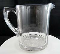 "HEAVY PRESSED COLONIAL COLONY DESIGN  HANDLED 6 1/2"" PANELED GLASS PITCHER"