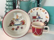 Tiffany&Co Child Plate Cup Bowl Drummer 3 Pcs Set Tiffany Toys Baby SHOWER Gift!