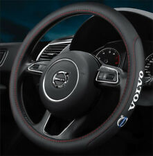 "15"" Car Steering Wheel Cover Genuine Leather For Volvo Black"
