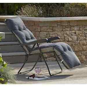Padded Reclining Sun Lounger Charcoal Grey - Outdoor Cushioned Garden Deck Chair