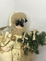 "FolkArt Boutique Pug Dog Santa Claus 12""H Doll Ivory Gold Holding Christmas Tree"