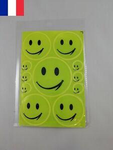 Set de 11 X Autocollants Emoji Réfléchissants Ronds Emoticone 3 Diamètres