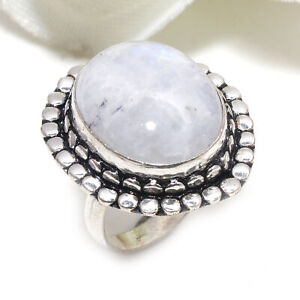 Moonstone Gemstone 925 Sterling Silver Handmade Jewelry Ring Size 8 6438