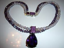 AMAZING SIGNED SIGAL LAVENDER PURPLE DOUBLE STRAND CRYSTAL BEAD NECKLACE